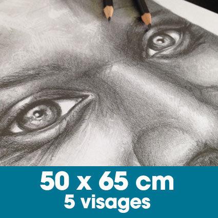 Portrait mine graphite 50 x 65 cm - 5 visages