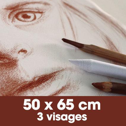 Portrait sanguine 50 x 65 cm - 3 visages