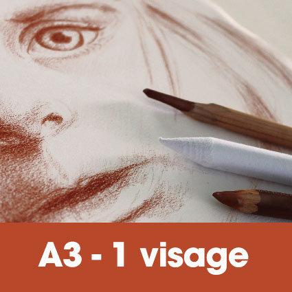 Portrait sanguine 30 x 40 cm (ou A3)* 1 visage