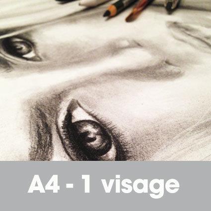 Portrait fusain 24 x 32 cm (ou A4)* 1 visage