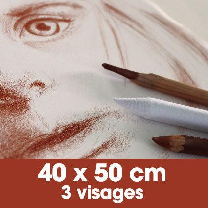 Portrait sanguine 40 x 50 cm - 3 visages