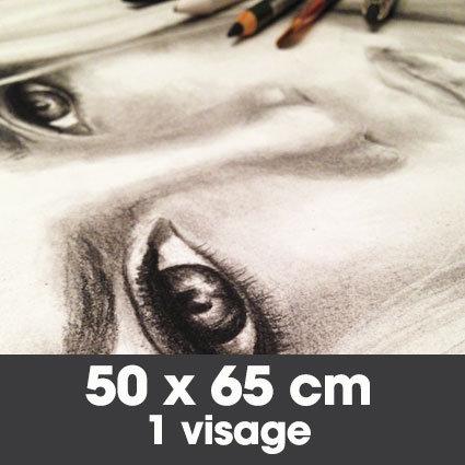 Portrait fusain 50 x 65 cm - 1 visage