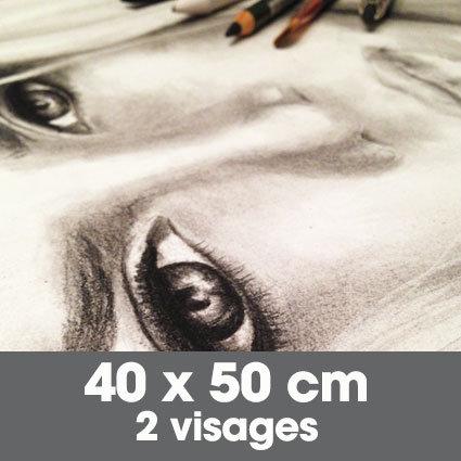 Portrait fusain 40 x 50 cm - 2 visages