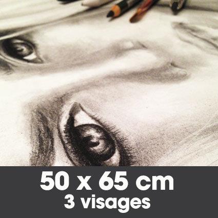 Portrait fusain 50 x 65 cm - 3 visages