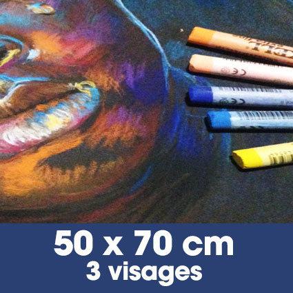 Portrait aux pastels secs 50 x 70 cm • 3 visages