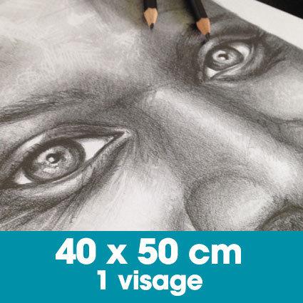 Portrait mine graphite 40 x 50 cm - 1 visage
