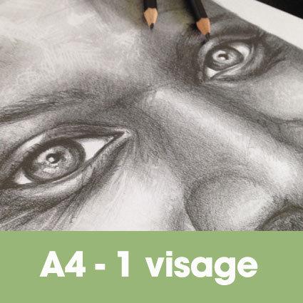 Portrait mine graphite 24 x 32 cm (ou A4)* -1 visage