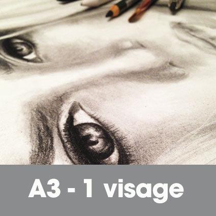 Portrait fusain 30 x 40 cm (ou A3)* 1 visage