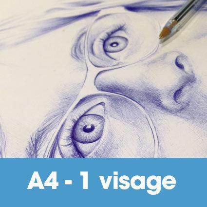 Portrait stylo bille 24 x 32 cm (ou A4)* -1 visage