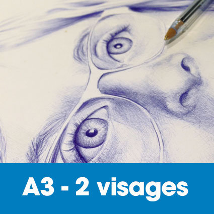 Portrait stylo bille 30 x 40 cm (ou A3)* - 2 visages