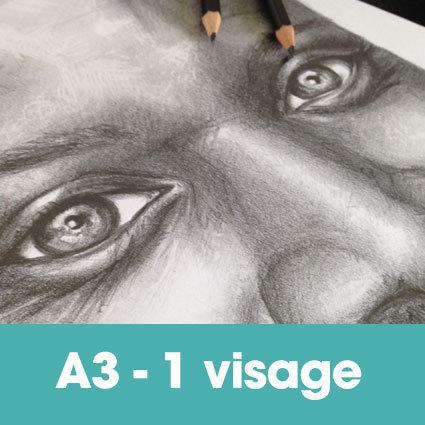Portrait mine graphite 30 x 40 cm (ou A3)* -1 visage