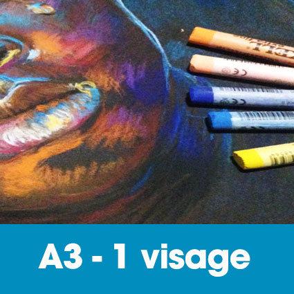 Portrait pastels secs 30 x 40 cm • 1 visage