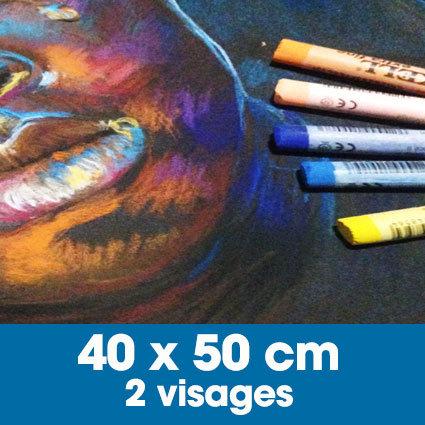Portrait aux pastels secs 40 x 50 cm • 2 visages