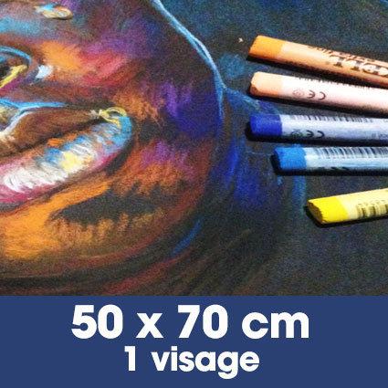 Portrait aux pastels secs 50 x 70 cm • 1 visage