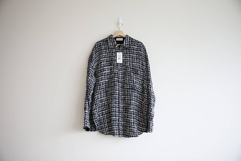 Faith Connexion Crystal Buttons Tweed Oversized Shirt