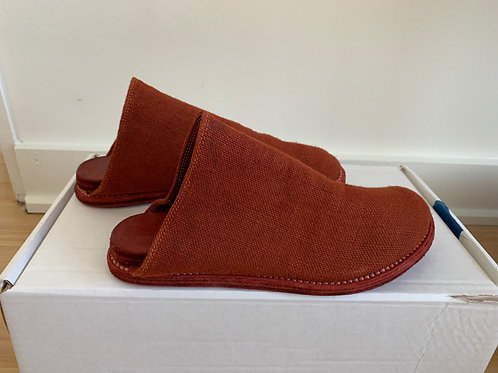 Guidi Red Linen Calf Leather Insole Mules