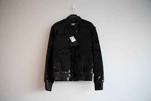 Saint Laurent Black Metallic Silk Blended Teddy Jacket