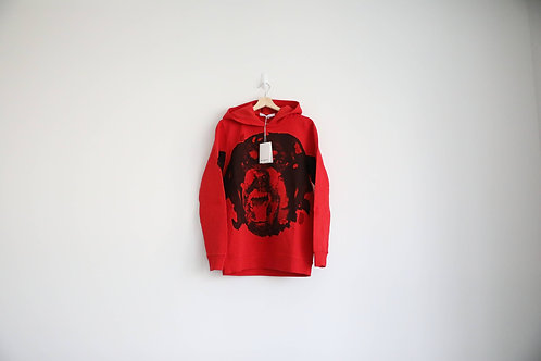 Givenchy Red Distressed Rottweiler Hoodie