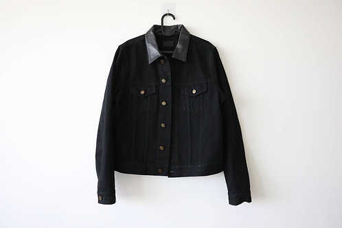 Saint Laurent Leather-Collar Denim Jacket