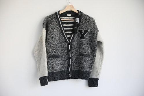 "Saint Laurent Paris ""Y"" Logo  Wool Striped Cardigan"