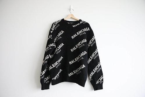Balenciaga Black Logo Wool Sweater