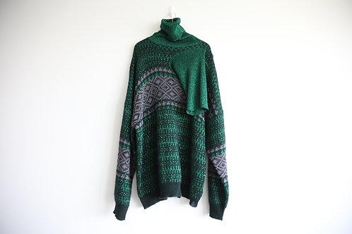 Raf Simons Turtle Neck Green Glitter Pullover