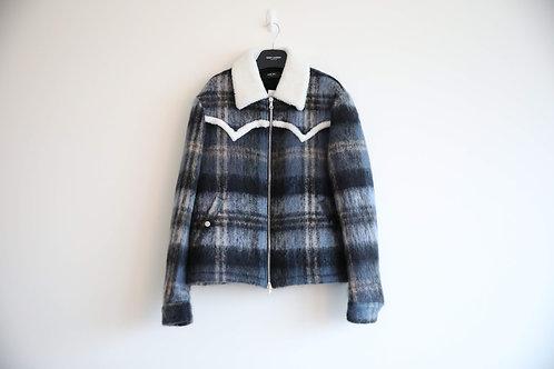 Amiri Checked Mohair Shearling Collar Jacket
