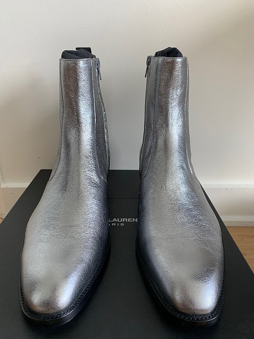 Saint Laurent Paris Silver Metallic Zipped Boots
