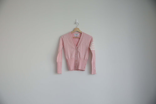 Thom Browne Pink Cashmere 4-Bar Cardigan