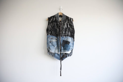 Greg Lauren 50/50 Velvet Distressed Denim Vest