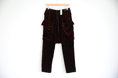 Unravel Project Red Velvet Zipped Pants