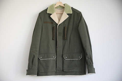 Valentino Shearling-Lined Canvas Utility Jacket