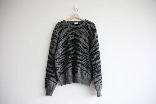 Saint Laurent Grey Leopard Mohair Sweater