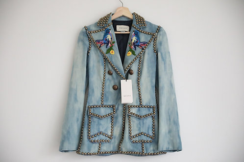 Gucci Embroidered Denim Long Blazer