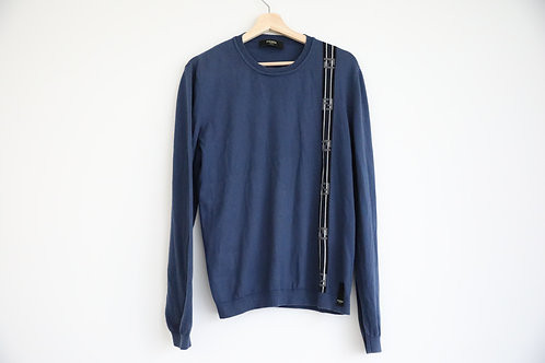 Fendi Navy Wool Logo Sweater