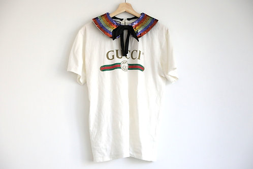 Gucci Logo T-Shirt with Sequin Collar