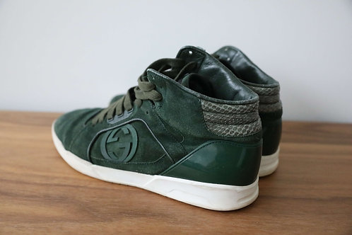 Gucci Mens Green Suede Leather Sneaker