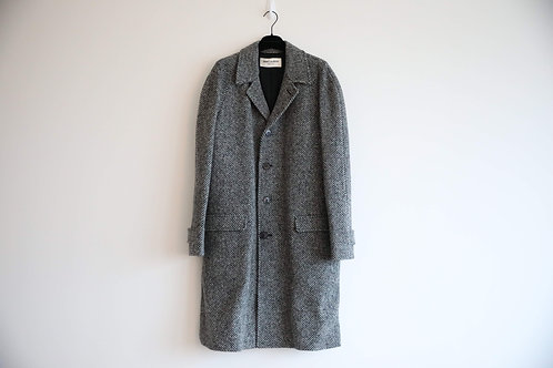 Saint Laurent Paris Grey Striped Wool Coat