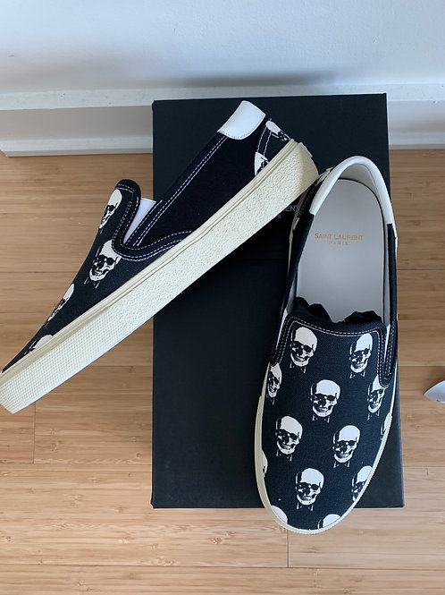 Saint Laurent Skull Canvas Slip On