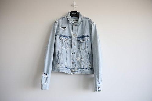 Off-White Distressed Logo Denim Jacket
