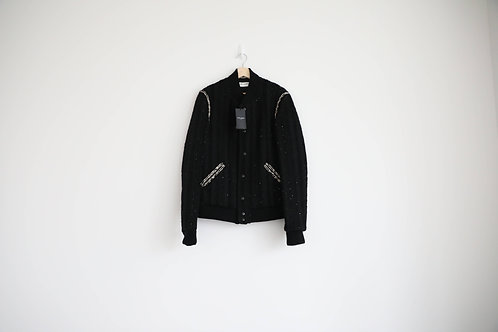 Saint Laurent Sequin-Embellished Wool-Blend Tweed Teddy Jacket