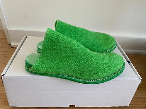 Guidi Green Linen Calf Leather Insole Mules