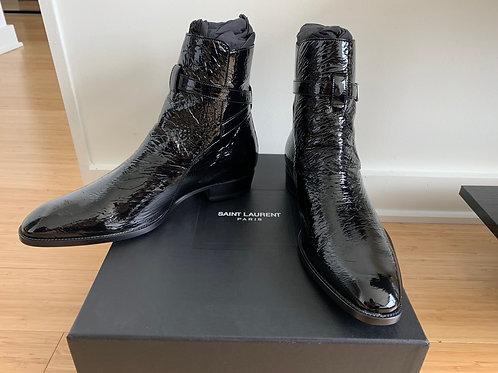 Saint Laurent Black Vegan Leather Wyatt Boots