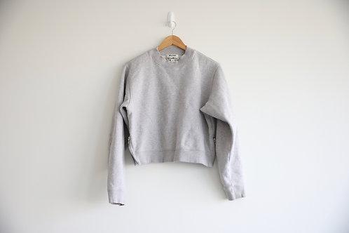 Acne Studios Grey Cropped Zipped Sweatshirt