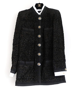 Chanel Gold Black Tweed Jacket
