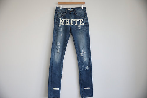 Off-White Logo Distressed Jeans