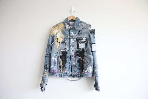 Faith Connexion Distressed Graffiti Denim Jacket