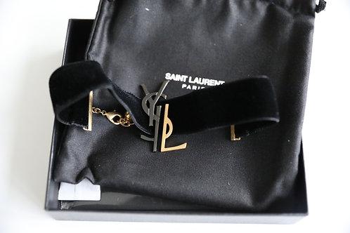 Saint Laurent Paris Velvet Logo Choker