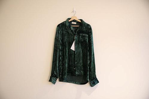 Faith Connexion Green Striped Velvet Shirt