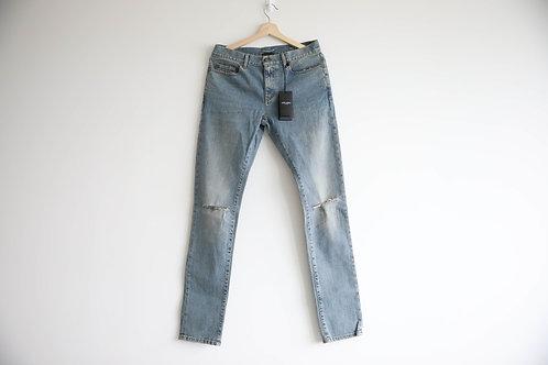 Saint Laurent D02 Blue Knee Cut Skinny Jeans